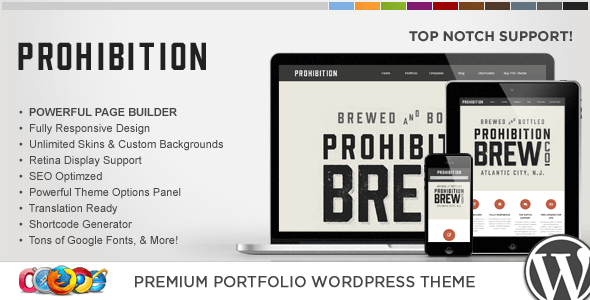 WP Prohibition Responsive Creative WordPress Theme - Portfolio Creative