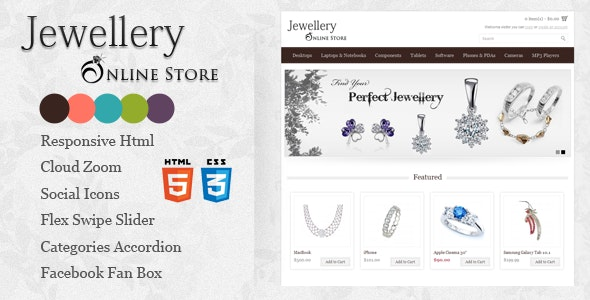 Responsive Jewellery Online Store Html5 template - Site Templates
