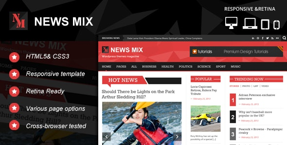 News Mix Responsive HTML 5 Website Template - Corporate Site Templates
