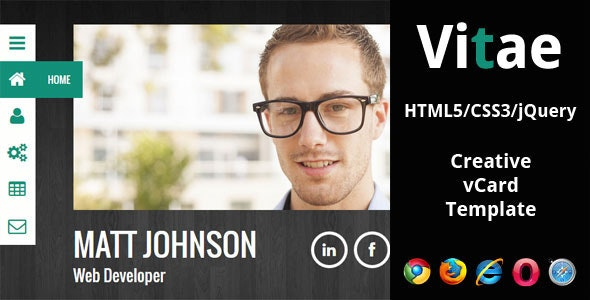 Vitae - Responsive HTML5 vCard Template - Personal Site Templates