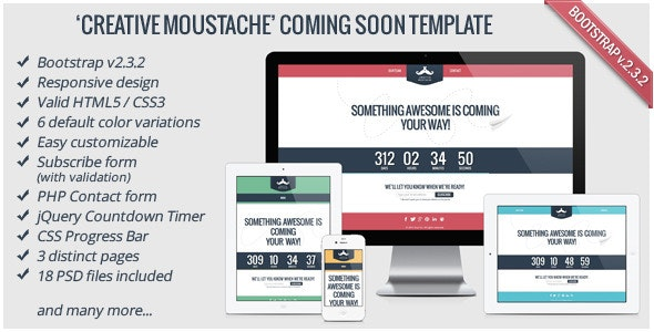 Creative Moustache Coming Soon Template - Under Construction Specialty Pages