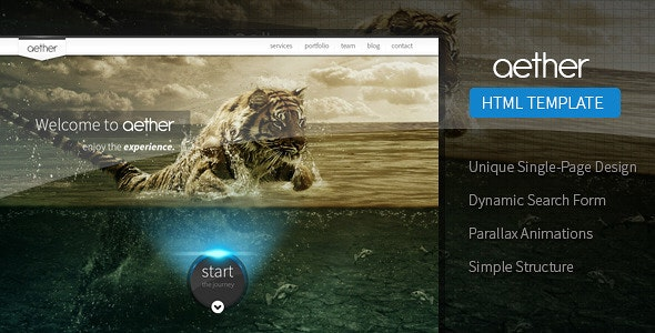 Aether - Unique One-Page Multipurpose Template - Creative Site Templates