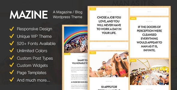 Mazine: Magazine / Blog WordPress Theme - News / Editorial Blog / Magazine