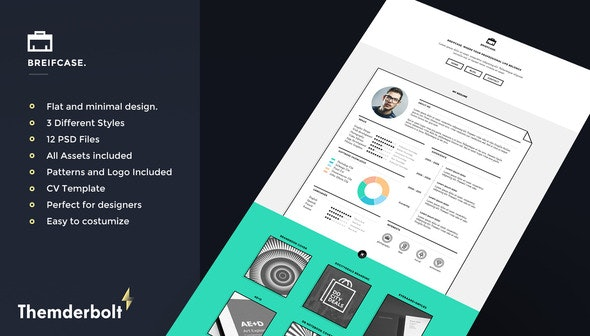 Briefcase PSD. Flat Portfolio for Designers 3 in 1 - Portfolio Creative