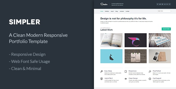Simpler   A Clean Responsive Portfolio Template - Portfolio Creative