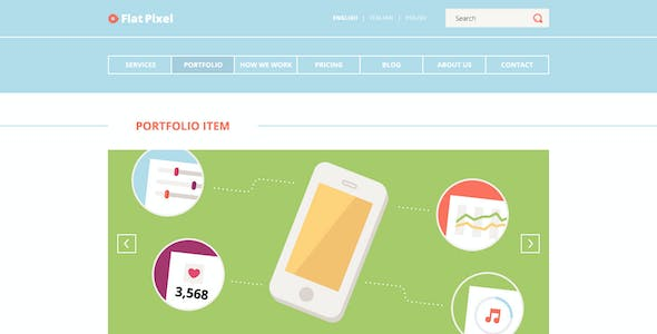 Flat Pixel - Illustrated PSD Template