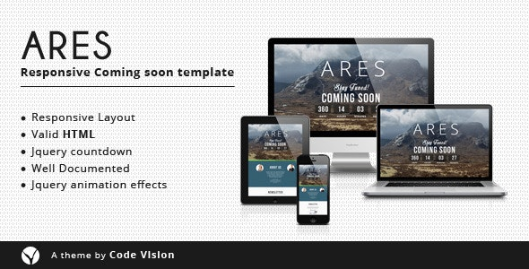 Ares - Coming Soon Template - Under Construction Specialty Pages