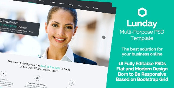 Lunday - Multi-Pourpose PSD Template - Flat Design - Business Corporate
