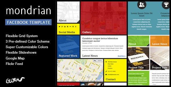 Mondrian Html Css Facebook Template Marketing Corporate