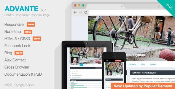 Advante - Responsive HTML5 Personal Page - Personal Site Templates