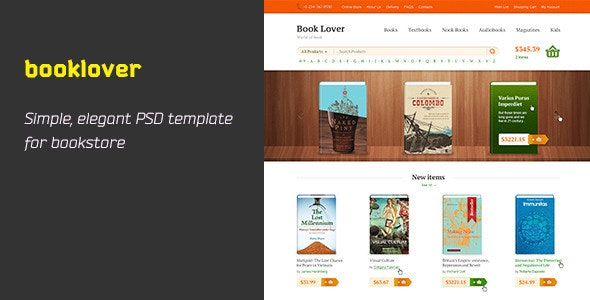 Booklover is PSD Template - Retail Photoshop