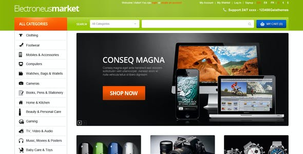 Electronics Store OpenCart Theme - High-tech, Computers, Laptops, Cameras, Cell phones | Electronues