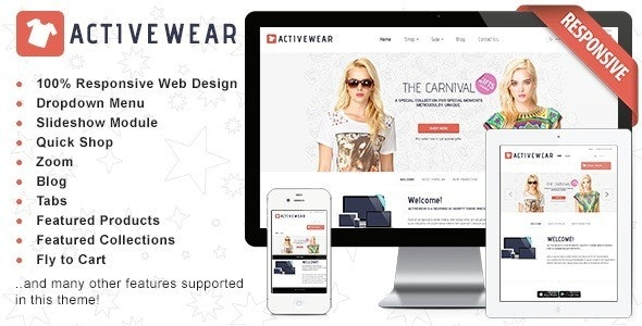 Responsive Shopify Theme - ActiveWear - Shopify eCommerce