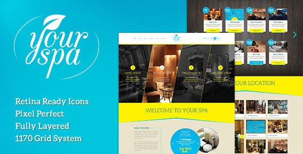 Your Spa - Health/Beauty One Page PSD Template - Health & Beauty Retail