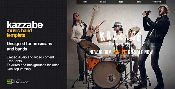 Kazzabe - One Page Music Band Template - Creative Muse Templates