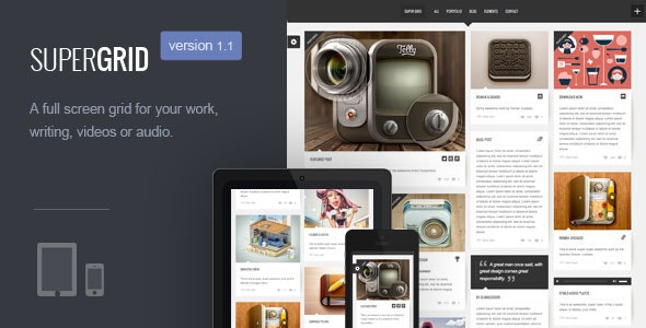 SUPER GRID | Fullscreen Grid-Based Portfolio/Blog - Blog / Magazine WordPress