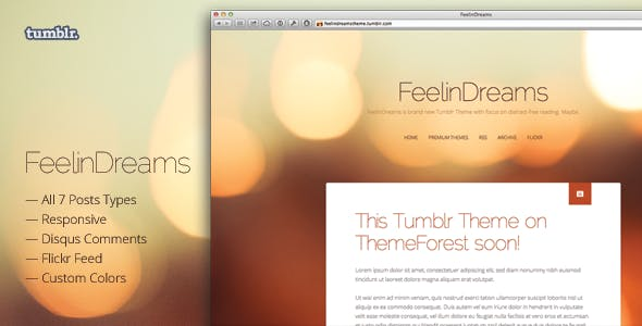 FeelinDreams — Retina & Responsive Tumblr Theme