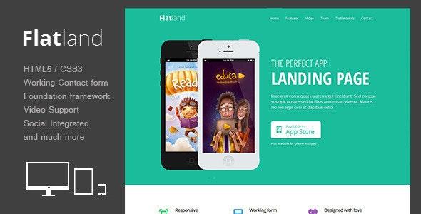 Flatland - Responsive HTML5 App landing page - Landing Pages Marketing