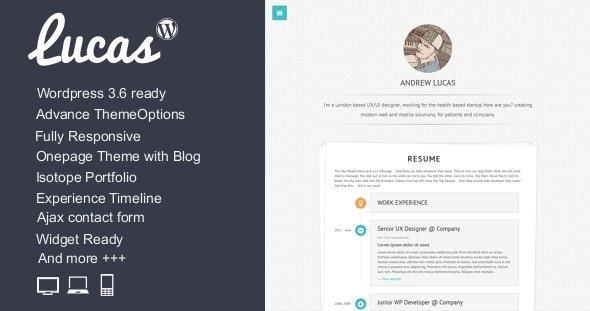 Lucas - Personal Minimalist Wordpress Blog Theme - Personal Blog / Magazine