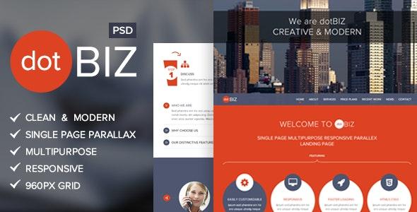 dotBIZ | Multi-Purpose Parallax PSD Landing Page - Photoshop UI Templates