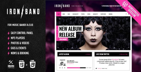 Music Band Templates from ThemeForest