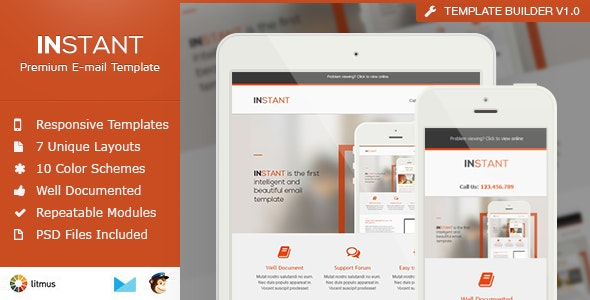 Instant - Business Responsive Email Template - Newsletters Email Templates