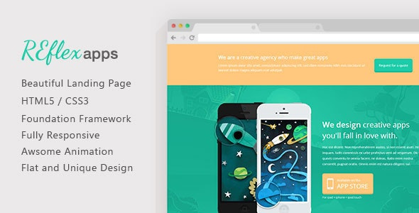 ReflexApps - Responsive landing Page Template - Apps Technology