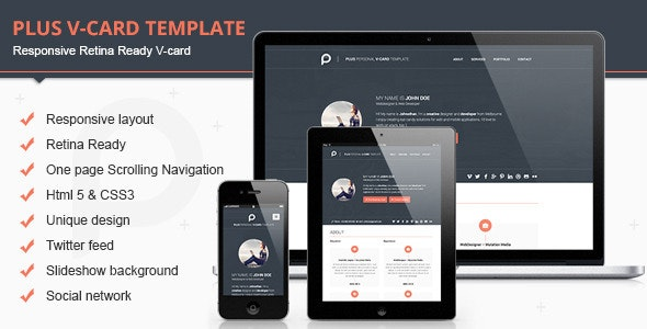 Plus Html V-card Template - Virtual Business Card Personal
