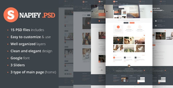 Snapify - clean and modern PSD Template - Corporate Photoshop