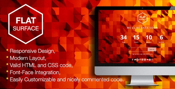 Flat Surface - Responsive Coming Soon Template - Under Construction Specialty Pages