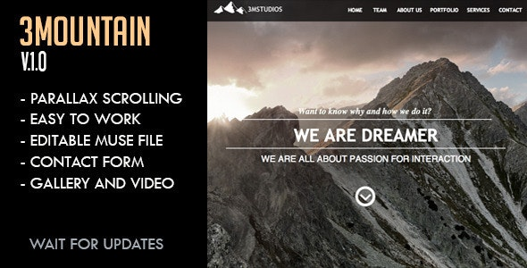 3Mountain Studios Muse Template - Creative Muse Templates