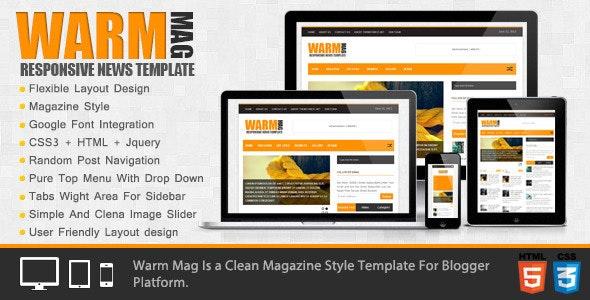 WarmMag - Premium Responsive Blogger Template - Blogger Blogging