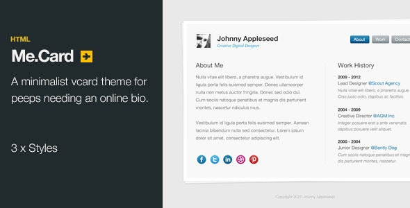 Me.Card - HTML V-card theme - Virtual Business Card Personal