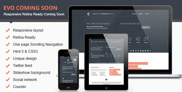 Evo Html Coming Soon Template - Under Construction Specialty Pages
