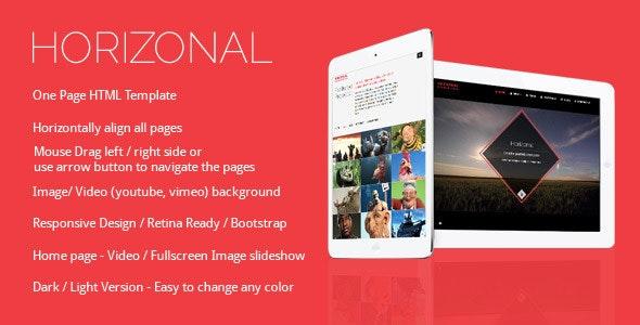 Horizonal Unique Creative OnePage Bootstrap HTML5 - Creative Site Templates