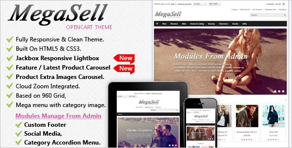 Megasell - Elegant & Responsive Opencart Theme - OpenCart eCommerce