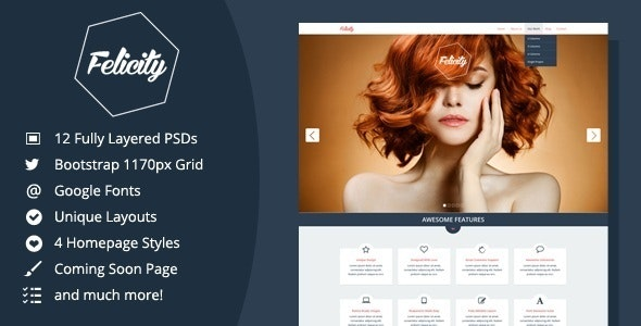 Felicity - Creative PSD Template - Photoshop UI Templates