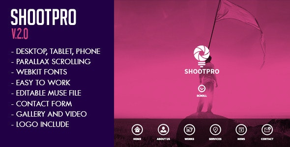 Shootpro Studios Muse Template 2.0 - Updated - Creative Muse Templates