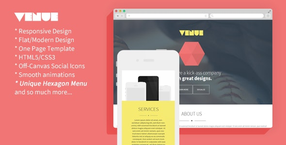 Venue - Creative And Flat Responsive Landing Page - Creative Landing Pages