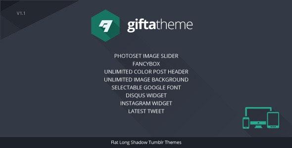 Gifta - Flat Long Shadow Tumblr Theme  - Blog Tumblr