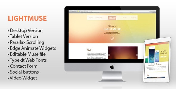 Lightmuse - One Page Muse Template - Corporate Muse Templates