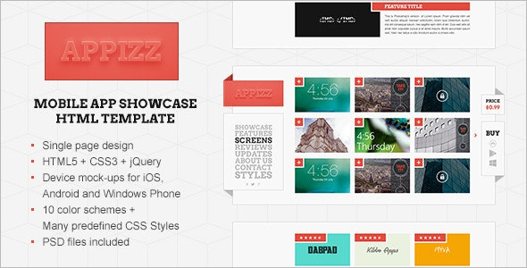 Appizz - Mobile App Showcase HTML Template - Software Technology