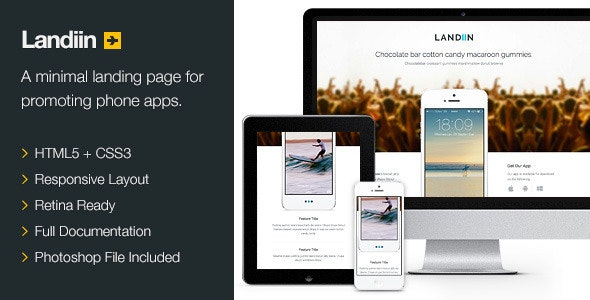 Landiin - Responsive Retina Landing Page - Landing Pages Marketing