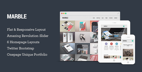 Marble - Flat Responsive HTML5 Template - Creative Site Templates