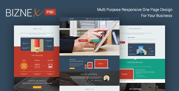 BizNex | Multi-Purpose Parallax PSD Landing Page  - Photoshop UI Templates