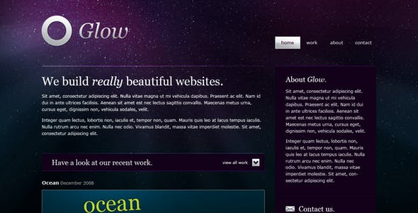 Glow PSD Files and Photoshop Templates from ThemeForest