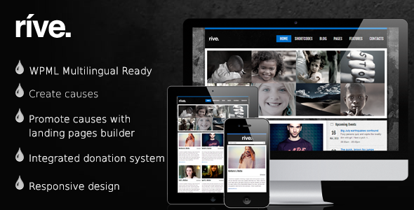 Rive - Responsive Charity WordPress Theme - Charity Nonprofit