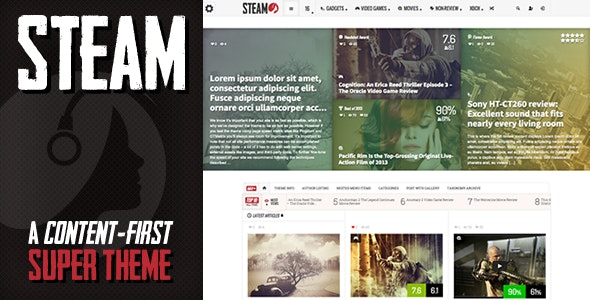 Steam - Responsive Retina Review Magazine Theme by