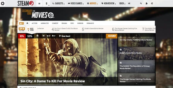 Steam - Responsive Retina Review Magazine Theme