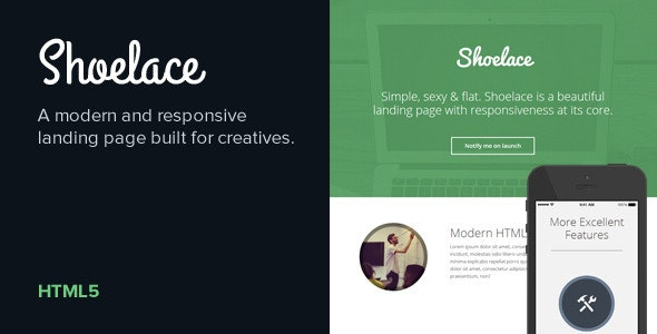 Shoelace - Modern, Responsive Landing Page - Creative Landing Pages
